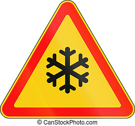 Belarusian road warning sign - Snow or frost.