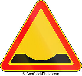 Warning road sign used in Belarus - Road ditch ahead