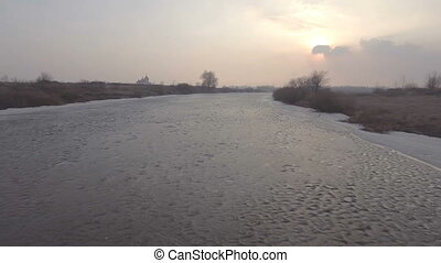 River in winter. Aerial View. Flight over the beautiful...