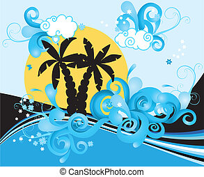 Swirling wave design with palm trees