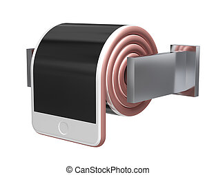 Concept Of Smartphone Like A Toilet Roll On White...