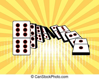 Falling dominoes comic book style vector - Falling dominoes...