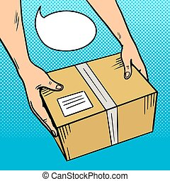 Hands give package in box pop art vector - Hands give parcel...