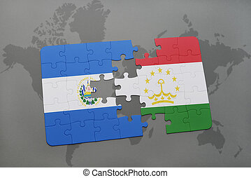 puzzle with the national flag of el salvador and tajikistan...