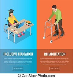 Disabled people banners with wheelchair and rehabilitation...