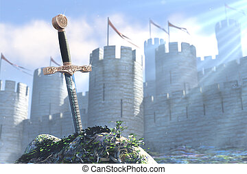 The sword in stone - 3D illustration of legend about king...
