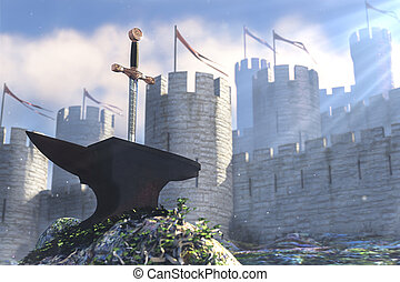 Excalibur - 3D illustration of legend about king Arthur