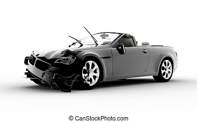 Accident car - A black car accident isolated on white...