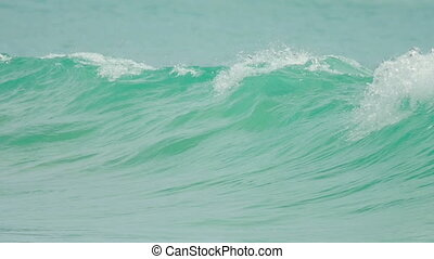 Turquoise rolling wave, slow motion - Turquoise waves...