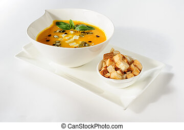 Pumpkin and soup with cream and pumpkin seeds - Roasted...
