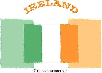 Ireland flag on white background