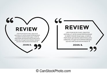 Website review quote citation blank template vector icon...