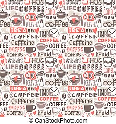 Hand drawn coffee badge vector seamless patterns