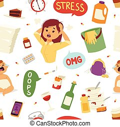 illustration of funny brunette stressed woman seamless...