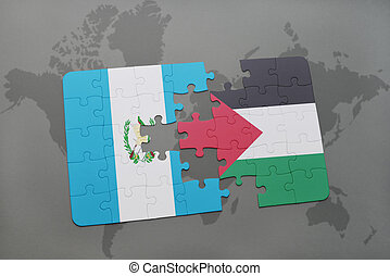 puzzle with the national flag of guatemala and palestine on...