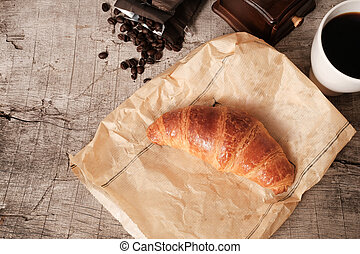 Flaky croissants and coffee - A fresh flaky croissants and...