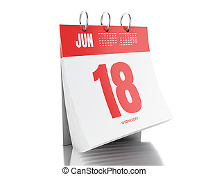 3d Day calendar with date June 18, 2017