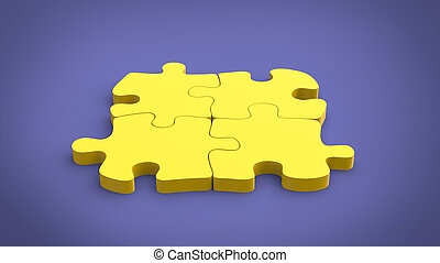 Yellow puzzle on purple background