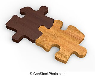 Two wooden puzzle pieces put together