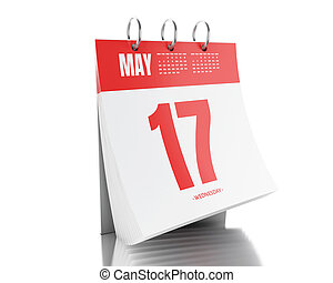 3d Day calendar with date May 17, 2017