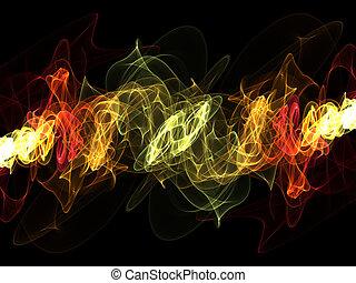 simétrico, Extracto, ondulado, multicolor, patrón