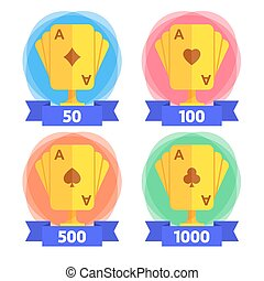 Awards for the winner in playing cards with different number of points. Icon for casino, computer or mobile game. Vector illustration isolated on white background. EPS10.