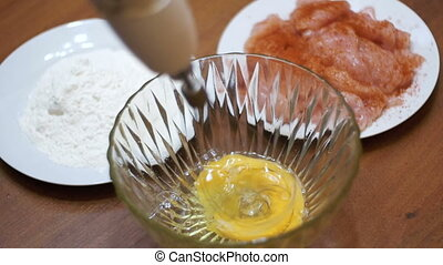 Whipping Eggs in a Transparent Bowl with an Electrical Hand...