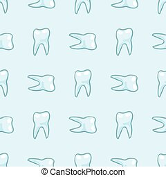White teeth on blue background. Vector - Seamless pattern....
