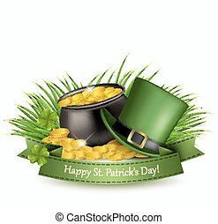 Saint Patrick's Day background with a green hat and gold coins in a cauldron. Vector illustration.