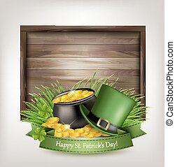 Saint Patrick's Day background with a green hat and gold...