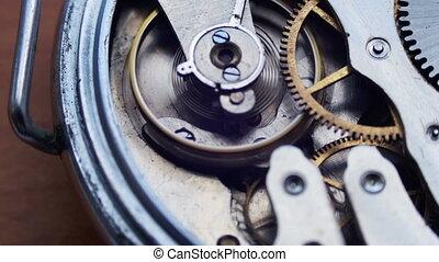 Vintage Watch Gears Movement Macro - Old vintage clock...