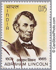 Abraham Lincoln - INDIA - CIRCA 1965: A stamp printed in...