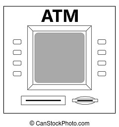 ATM for cash withdrawal, cash machine buttons of the monitor...