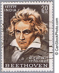 Ludwig van Beethoven - INDIA - CIRCA 1970: A stamp printed...