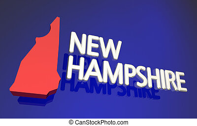 New Hampshire NH Red State Map Name 3d Illustration
