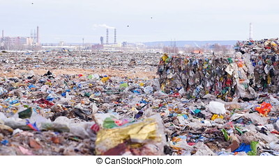 Nature Contamination. Trash and Garbage in piles. - Nature...
