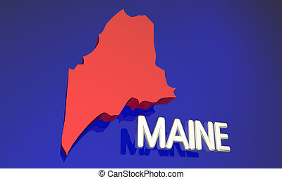 Maine ME Red State Map Name 3d Illustration