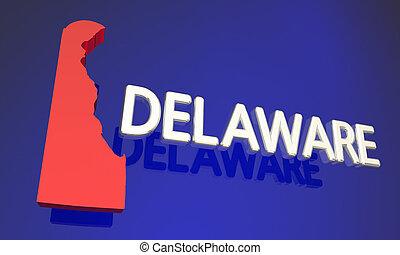 Delaware DE Red State Map Name 3d Illustration