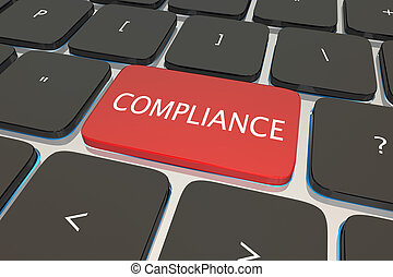 Compliance Computer Keyboard Key Button 3d Illustration