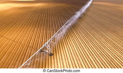 Irrigation Sprinklers Farm Field Food Crops Agriculture -...