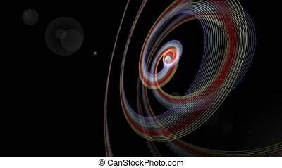 Futuristic animation with particle stripe object and light in slow motion,