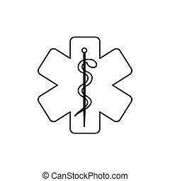 monochrome silhouette of health symbol with star of life...