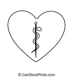 monochrome silhouette of heart with asclepius snake coiled...