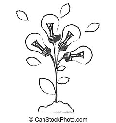 monochrome sketch with plant stem with leaves and...