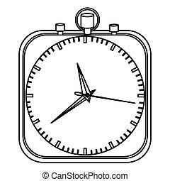 monochrome stopwatch in shape square vector illustration