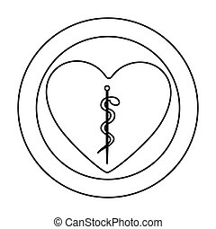 monochrome silhouette of heart inside of double circle with...