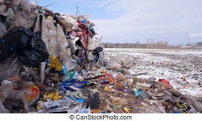 Garbage dump, landfill, junkyard, city dump. Dolly shot. -...
