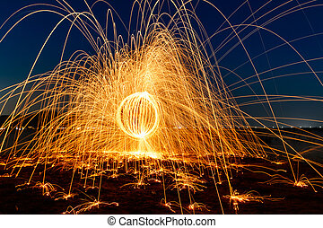 Ring of fire at the lake,Burning Steel Wool spinning
