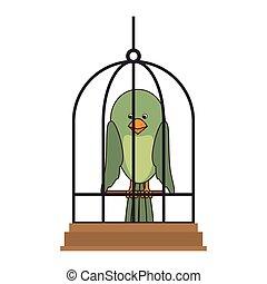 cute bird in cage mascot