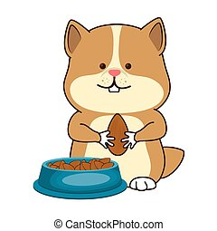 cute hamster mascot icon vector illustration design